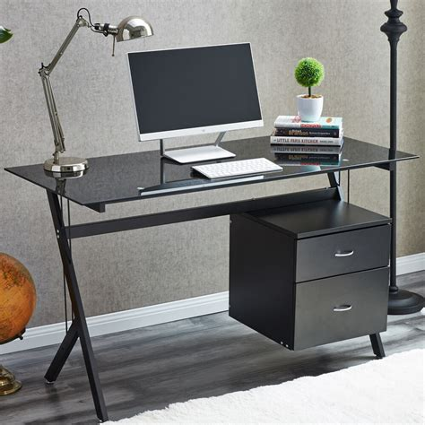 Compact Desks For Home by Raygar Black Glass Compact Computer Desk With 2 Drawers