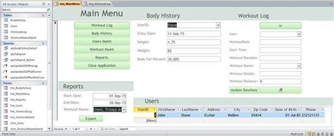 membership database template fitness workout membership access database templates and