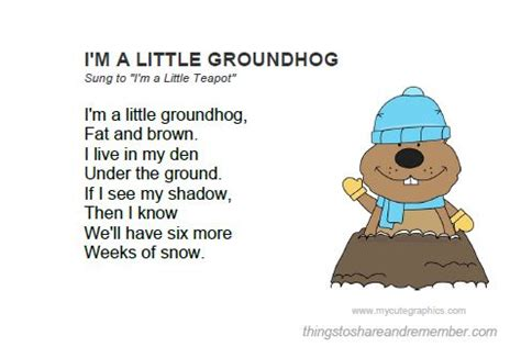 groundhog day song groundhog day activities printable song card