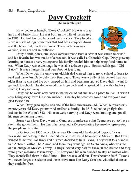 Free Reading Worksheets For 3rd Grade by Reading Comprehension Worksheet Davy Crockett