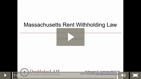 Withhold Rent From Landlord Letter Massachusetts Tenant Rights Archives Doubleday In Cambridge Massachusetts