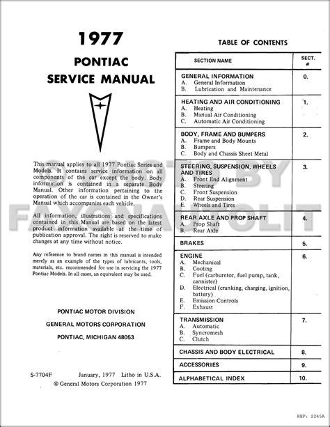 1972 pontiac repair shop manual original all models for 1972 pontiac grand prix wiring diagrams 1977 pontiac repair shop manual original all models