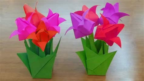 Origami Tulips Bouquet - how to make paper tulip flowers bouquet diy tulips