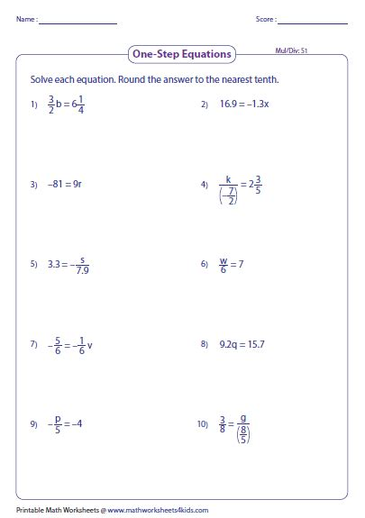One Step Multiplication Equations Worksheet by One Step Equation Multiplication And Division