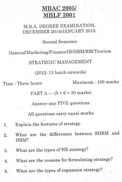 Pondicherry Mba Question Papers by Mba Strategy Management Pondicherry Jan 2015
