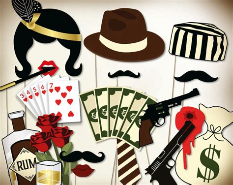themes in the book son of the mob gangster party photo booth props printable pdf