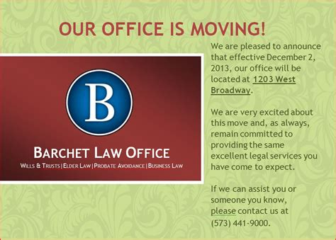 Blog Barchet Law Wills Trusts Elder Law Asset Protection Probate Avoidance Business Law Moving Announcement Template