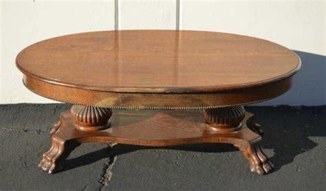2 foot by 3 foot table antique quarter sawn oak claw foot oval oak coffee table
