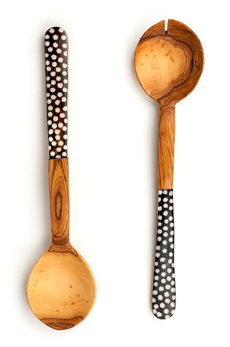 Set Olive 3w olive wood and polka dot cow bone flat handle