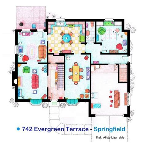 simpsons house floor plan the simpsons house floor plan print things for my wall pinterest