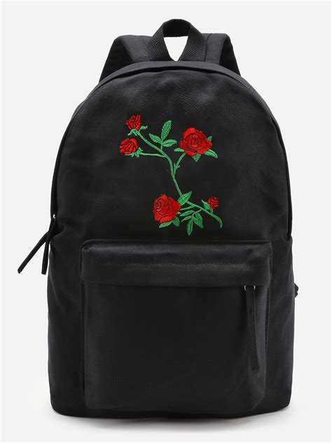 Embroidery Canvas Backpack flower embroidery canvas backpack shein sheinside
