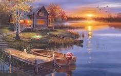 bob ross painting dock pencil drawings nature pictures cabin and deer the
