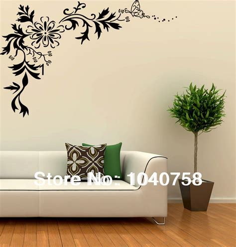 home decoration wall art monk picture more detailed picture about large black wall sticker flower floral tribal