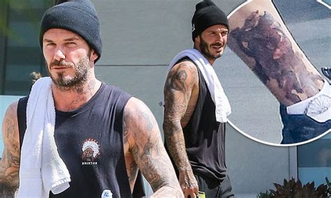 david beckham new tattoo david beckham flashes his new ankle as he hits the