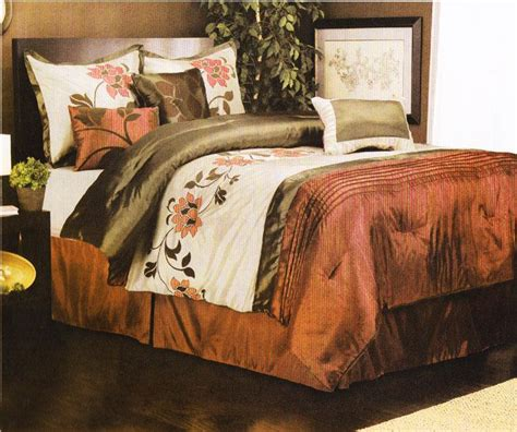 7 pieces queen size comforter set spring flower rust