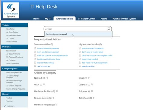 desk help desk software test screenshot crow canyon