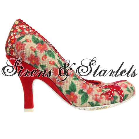 40s style shoes irregular choice pink foral vintage retro 40s 50s