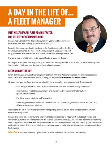 Fleet Manager Description by A Day In The Of A Fleet Manager City Of Columbus Oh