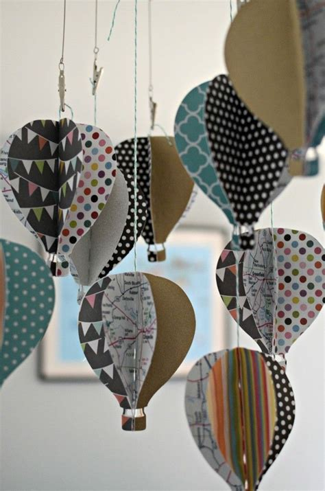 Diy Paper Crafts - diy paper 3d air balloon baby mobile diy paper