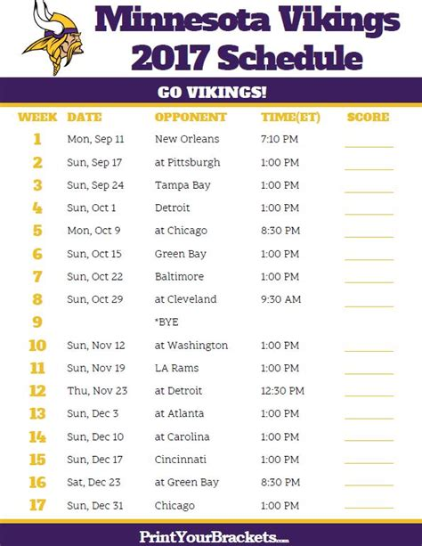 printable nfl schedule with channels minnesota vikings online game coverage 171 the best 10