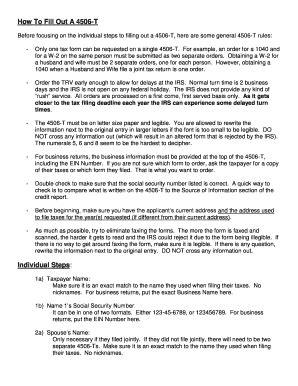 Form 4506 T Printable