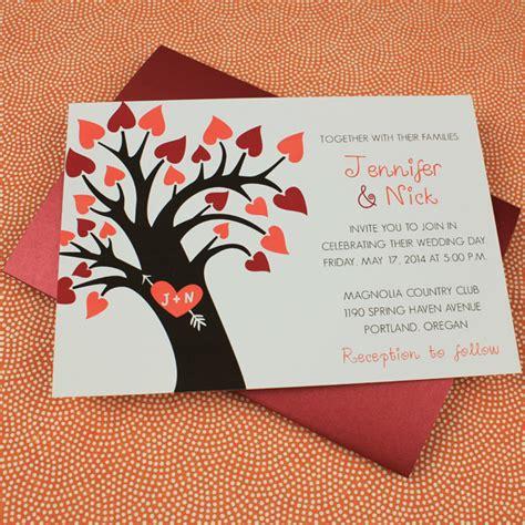 fall wedding invitation template with heart tree