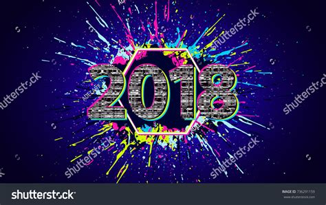 new year poster fail glitch new year sign 2018 celebration stock vector