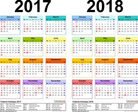 Calendar 2017 And 2018 Uk 2017 2018 Calendar Free Printable Two Year Pdf Calendars
