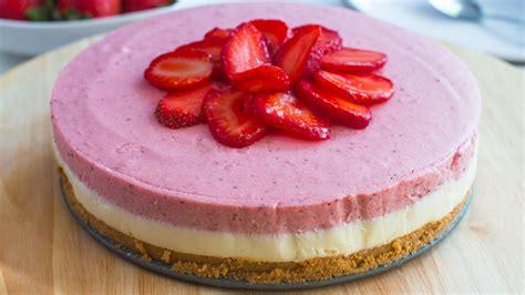 no bake white chocolate strawberry mousse cake recipe youtube