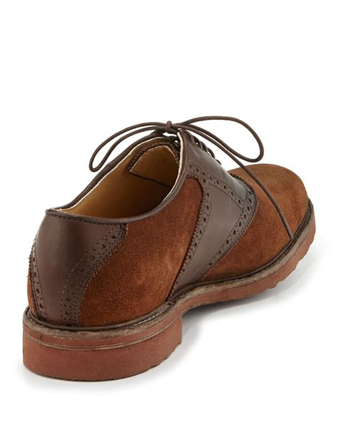 frye mens jim suede leather saddle shoe in brown for