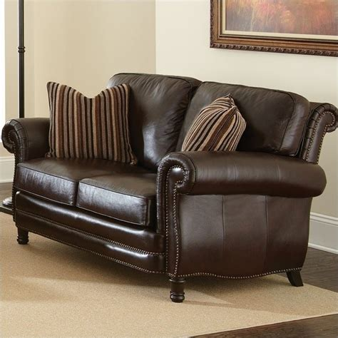 chocolate loveseat steve silver company chateau leather loveseat in antique