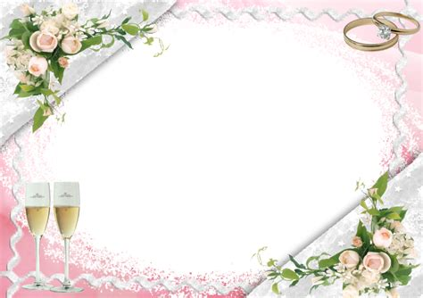 wedding png templates transparent pink wedding frame with bubbly glasses
