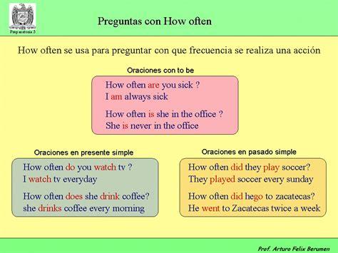 preguntas en ingles how often prepa 3 ingl 233 s i ingles i temas del examen 2