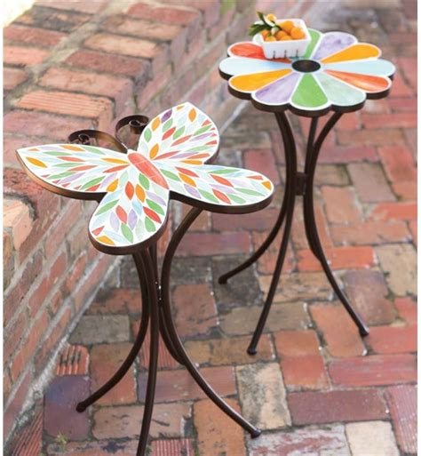 flower accent table butterfly and flower stained glass mosaic accent table