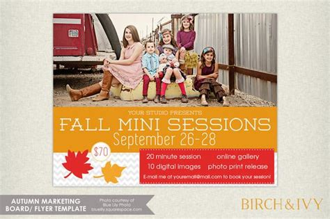 Fall Mini Session Flyer Template By Birch And Ivy On Creative Market Blogging Business Mini Flyer Template