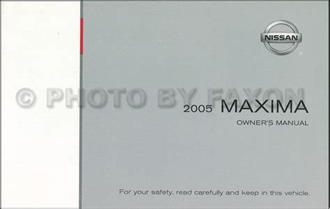 2007 nissan maxima owner s manual original 2005 nissan maxima owner s manual original
