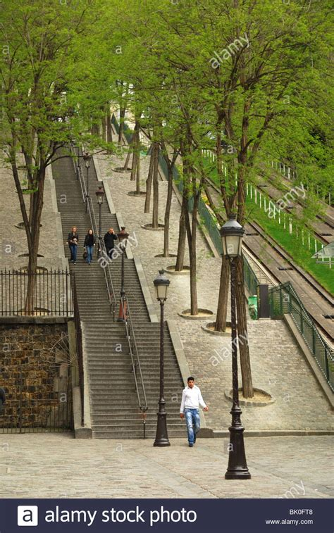 famous stairs famous steps montmartre paris france stock photo royalty