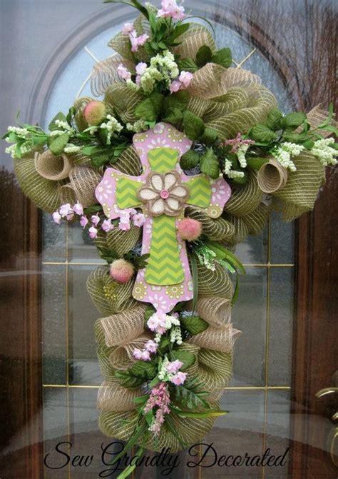 Easter Door Wreaths by Easter Cross Wreath Easter Door Or Wall Wreath Burlap
