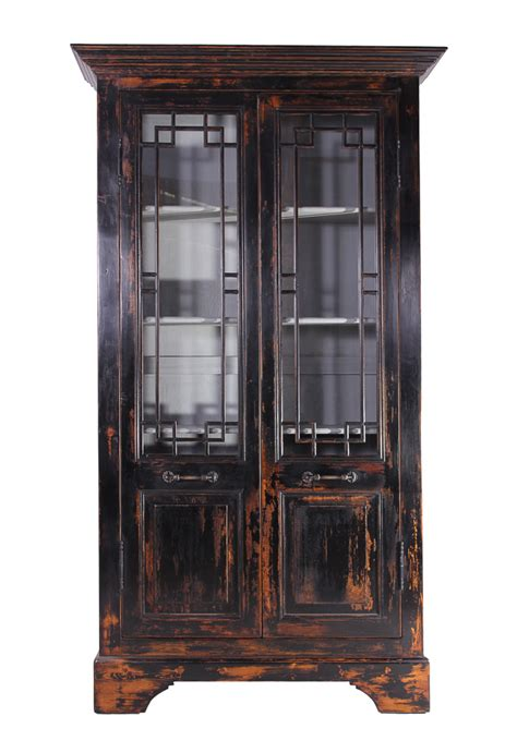Recycled Distressed Black Pine Cabinet With Glass Doors 98 Distressed Cabinet Doors