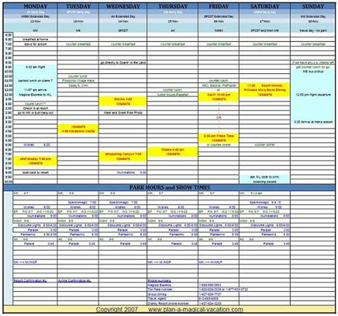 Disney Vacation Planning Spreadsheet Travel Planner Template