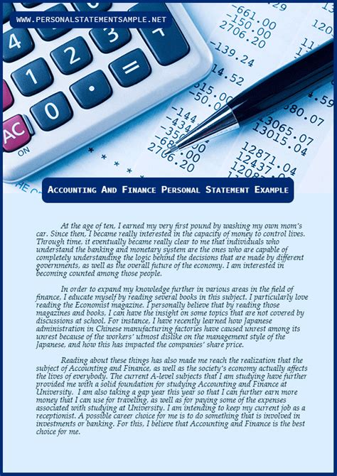 enjoy free accounting and finance personal statement exles