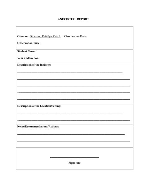 Report Records 28 Sle Of Anecdotal Report Anecdotal Record Form Anecdotal Report Sle