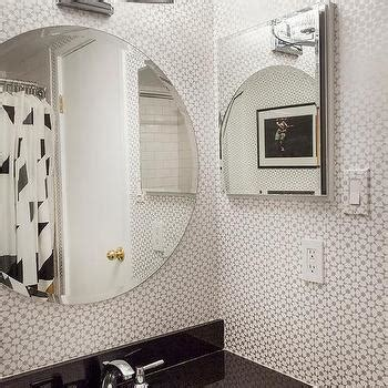 Black White And Silver Bathroom by Silver Geometric Bathroom Wallpaper Contemporary Bathroom