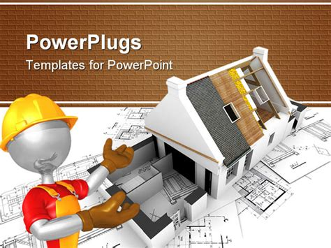 powerpoint themes roof powerpoint template animated construction worker showing