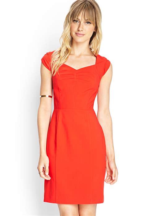 Forever21 Orange Dress lyst forever 21 contemporary cap sleeve sheath dress in