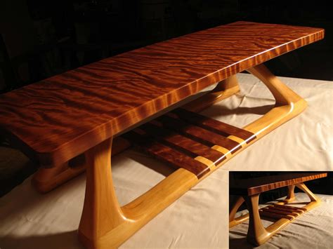 Rancher Logging hand crafted curly redwood and basswood coffee table by
