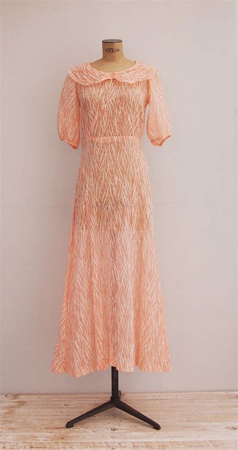 Dress Pink Merk Bodysoul 30 s salmon pink dress 1930 pan collar sheer gown and soul dress 1930s