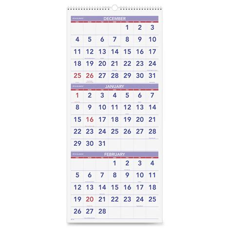 Month At A Glance Calendar At A Glance 3 Months Reference Wall Calendar Ld Products