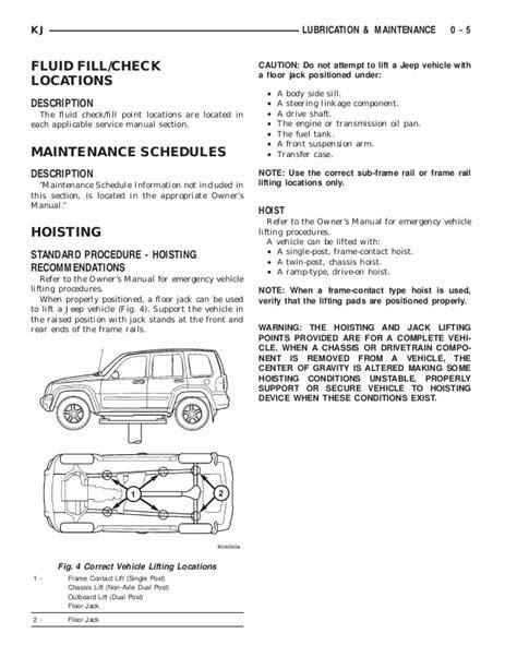 jeep liberty maintenance schedule jeep liberty 2002 2005 lubrication and maintenance