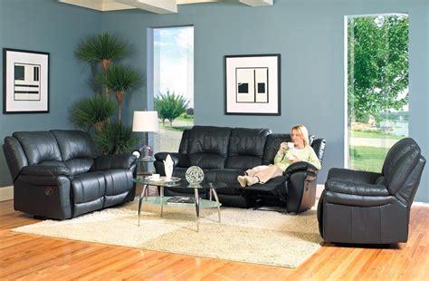 black bonded leather modern reclining living room sofa w